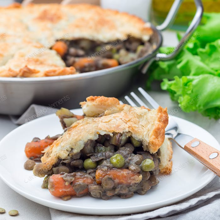 Vegetarian pot pie with lentil, mushrooms, potato, carrot and gr