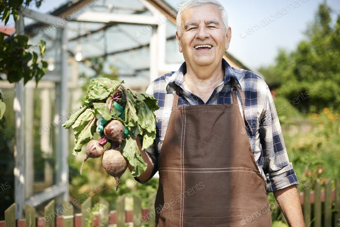 Older man is proud of his crops