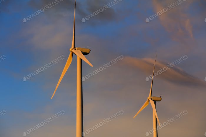 Wind turbines under sunset sky