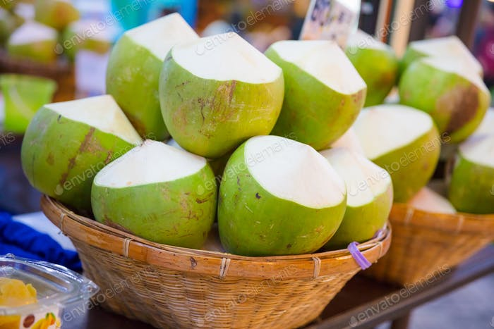 Coconuts For Sale At Street Market