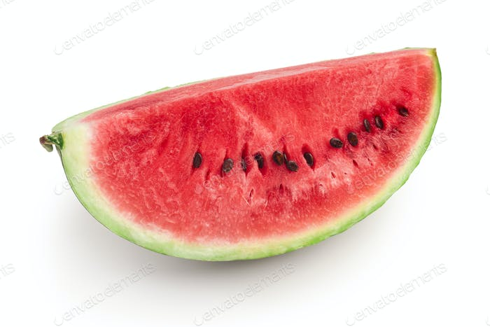 Quarter of fresh ripe red watermelon, isolated