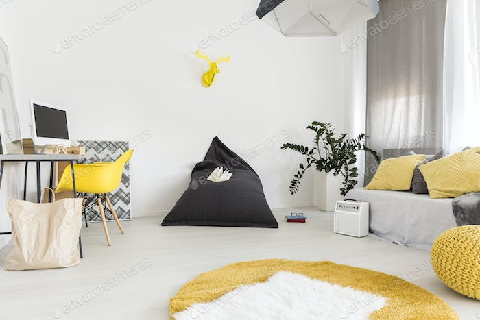 White and yellow living room