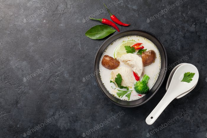 Tom Kha traditional Thai soup