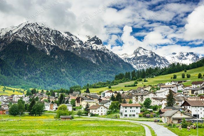 Mustair village in Switzerland Alps