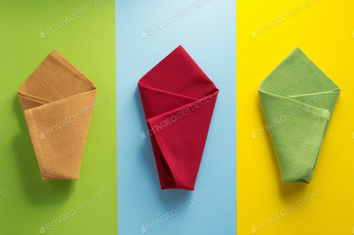 folded napkin at abstract  background