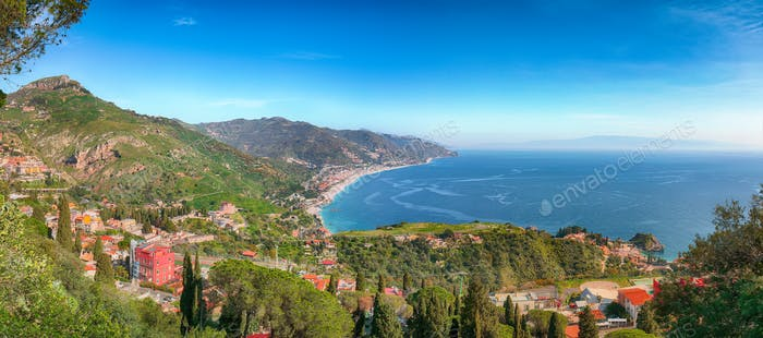 Ionian sea and beautiful mountains landscape in bright summer day