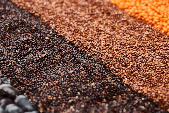 Close up View of Black Quinoa, Buckwheat And Lentil
