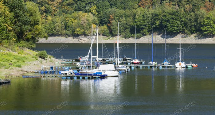 Small Lake Rursee Marina in the Eifel, Germany