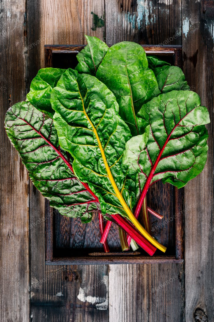 Fresh raw swiss rainbow chard leaves on wooden background.