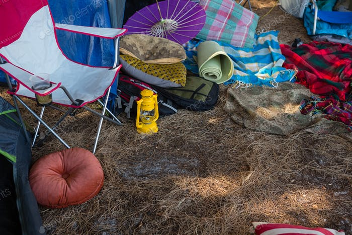 Camping equipments in the park