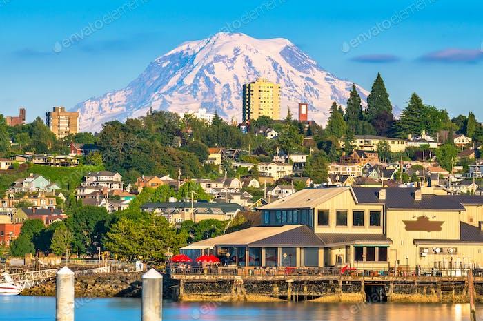 Tacoma, Washington, USA with Mt. Rainier in the distance
