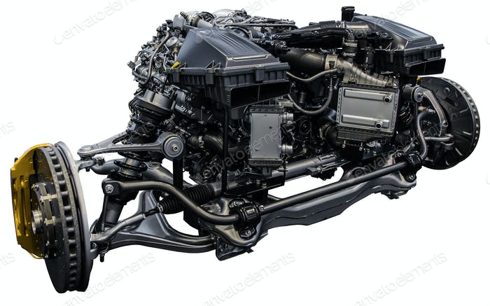 Car axle systems with engine. Car chassis with motor and suspension.