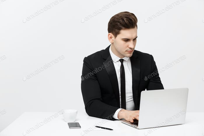 Business Concept: Businessman Thinking Ideas Strategy Working Concept in office