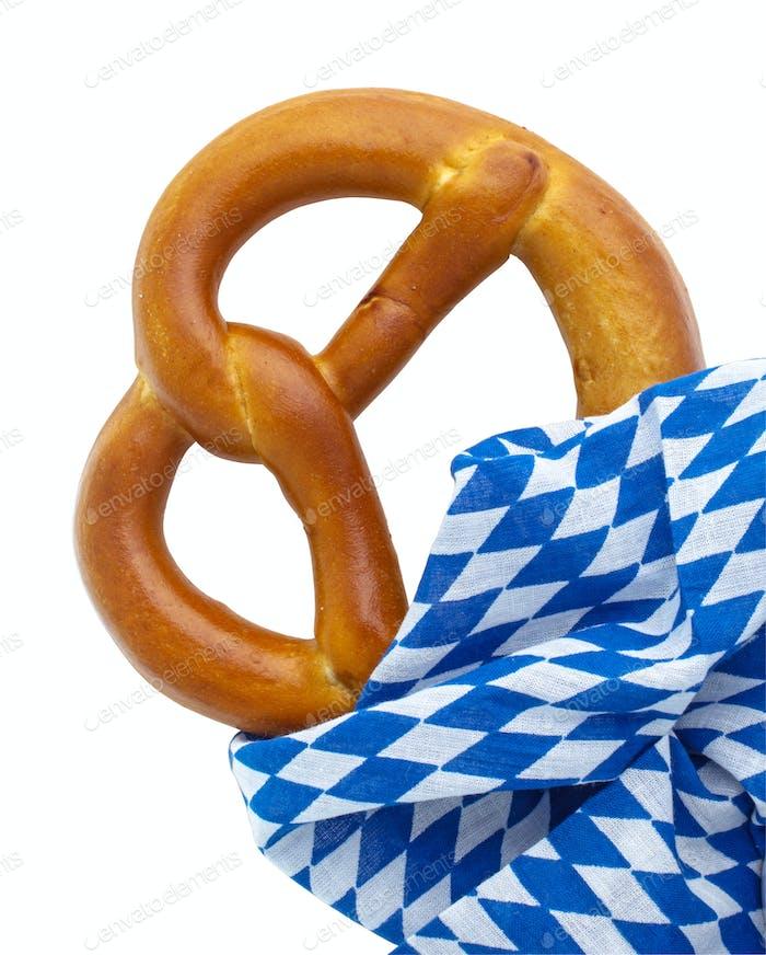 Pretzel and bavarian napkin isolated