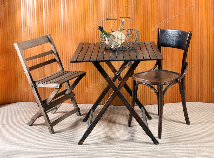 Folding Table with Chairs and Wire Basket