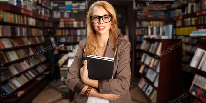 cool geeky girl in bookshop