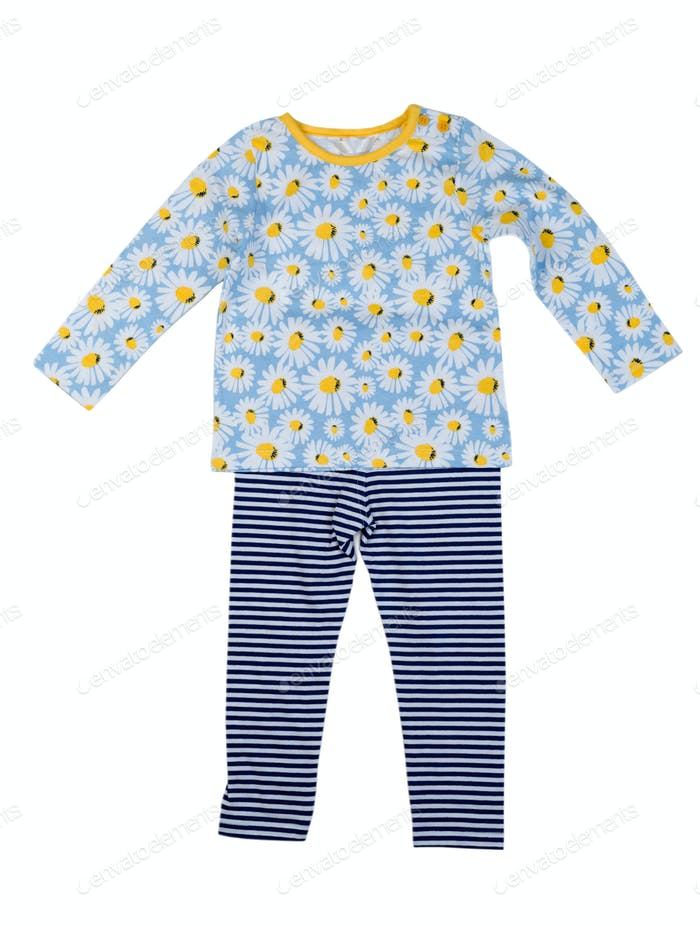 Childrens clothing with a pattern of daisy. Isolate on white.