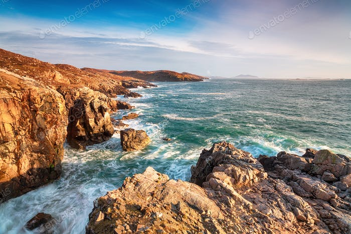The rugged coastline and cliffs at Hushinish