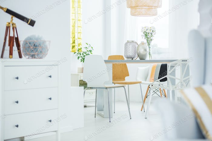 White room with dresser