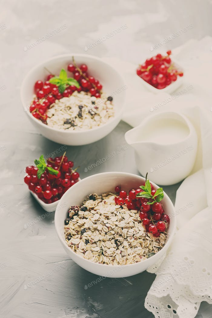 Homemade granola with currant