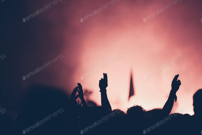 Silhouette of crowd at concert with raised arms