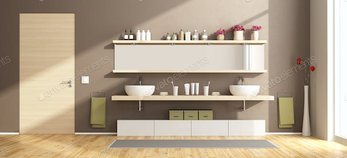 Modern bathroom with washbasins on wooden shelf
