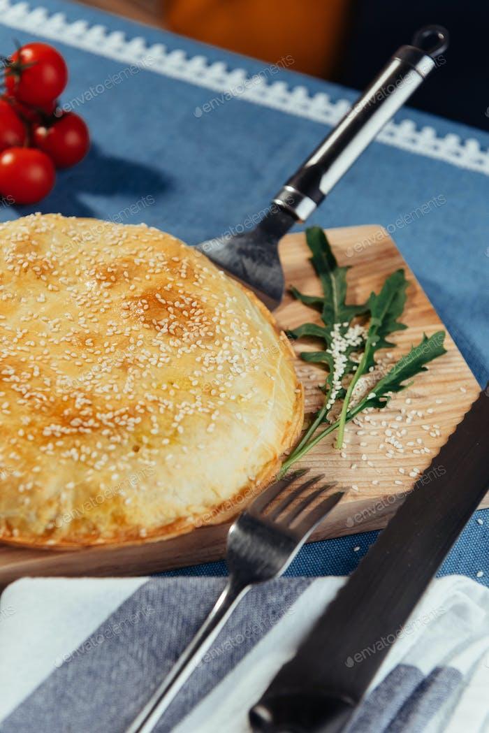 Pie with meat, homemade cakes. Advertising shooting menu.