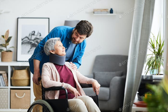 Senior woman undergoing rehabilitation