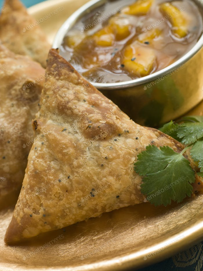 Vegetable Samosa with Mango Chutney