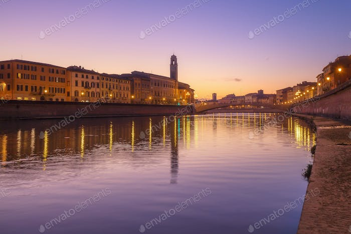Pisa, Arno river, Ponte di Mezzo bridge. Lungarno sunset view. T