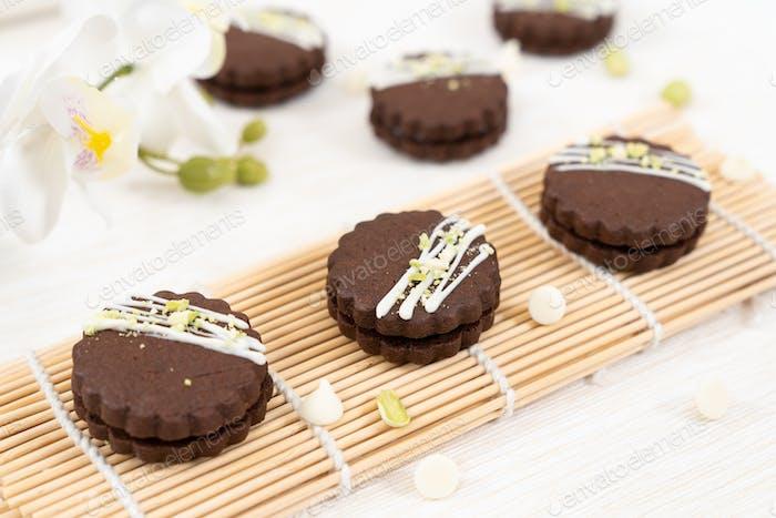 Circular chocolate sandwich biscuit cookies