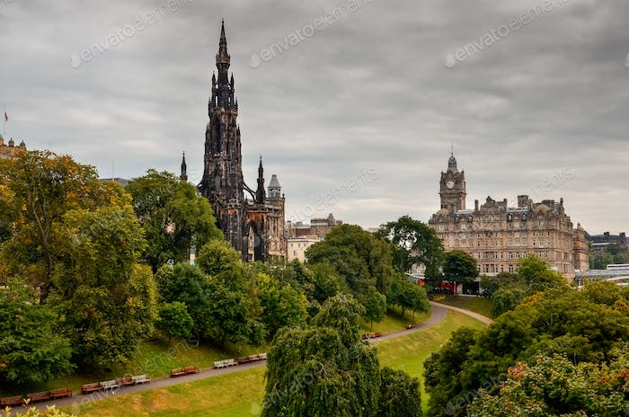 Edinburgh city with cathedral tower and a park, Scotland