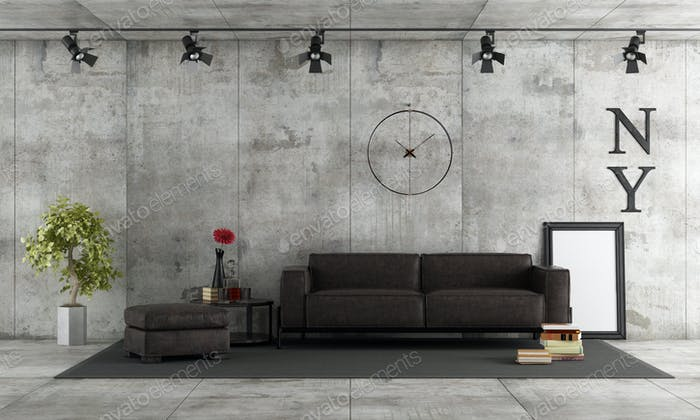 Concrete room with leather sofa