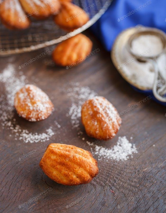 Sugar powdered madeleines.