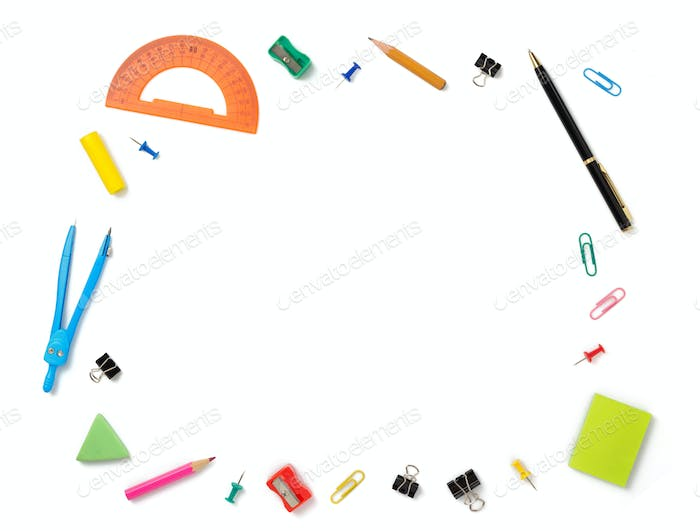 office supplies at white background
