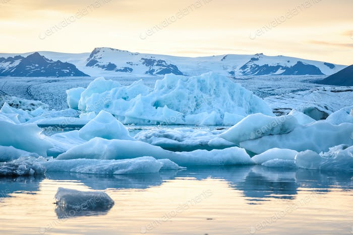 Beautiful view of icebergs in Jokulsarlon glacier lagoon at sunset, Iceland