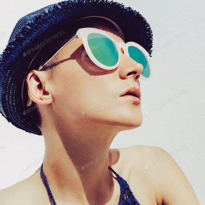 Hipster Girl Sun Time Summer Style Boho straw hat and sunglasses