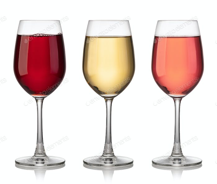 Glass of red, rose and white wine