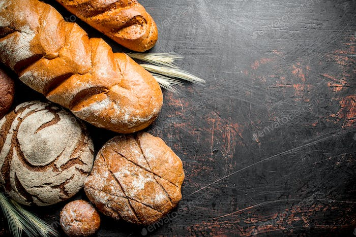 Assortment of different types of bread.
