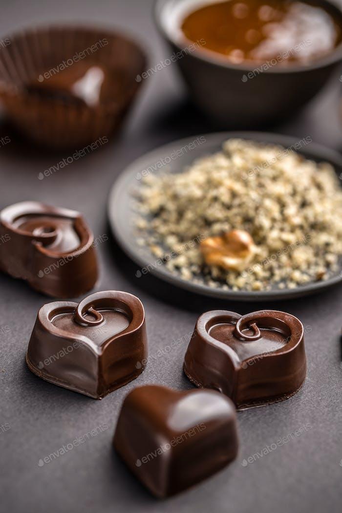 Heart shaped chocolate sweets