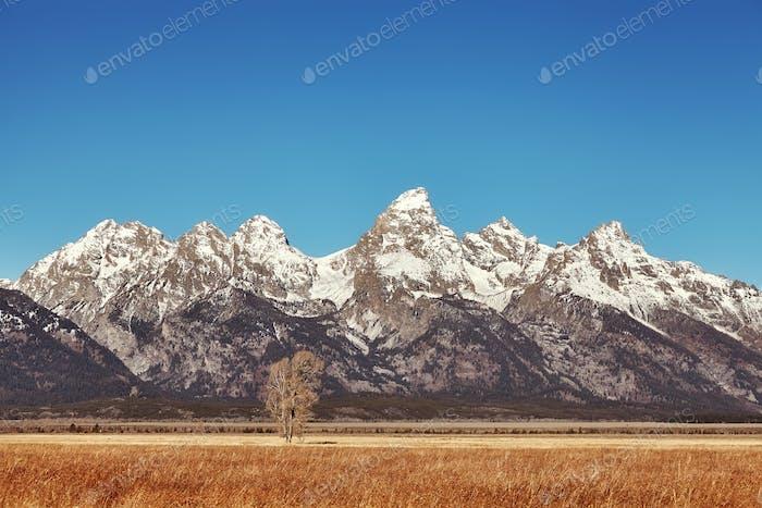 Grand Teton Mountain Range in autumn, USA.