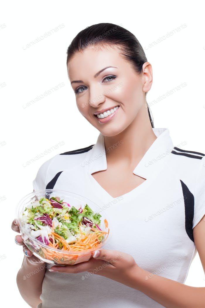Beautiful girl with salad
