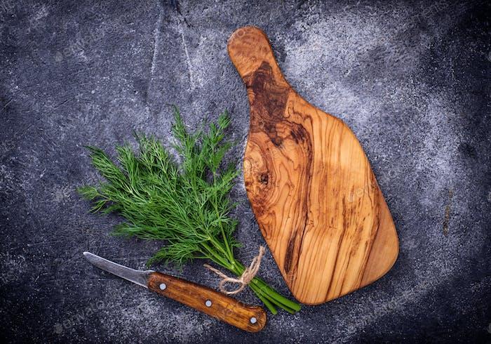 Fresh dill on cutting board