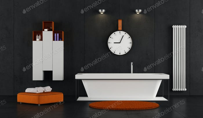 Minimalist bathroom with bathtub