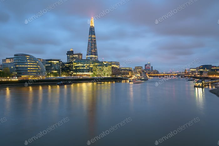 River Thames in London at dusk
