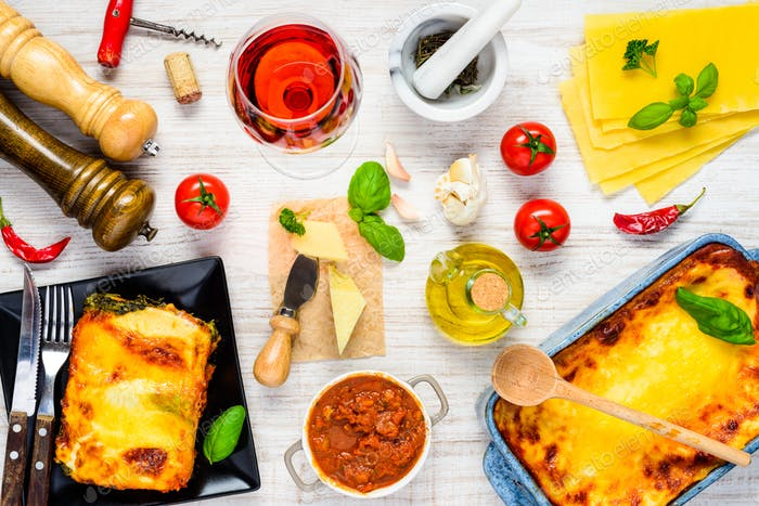 Italian Food with Cooking Ingredients and Lasagna