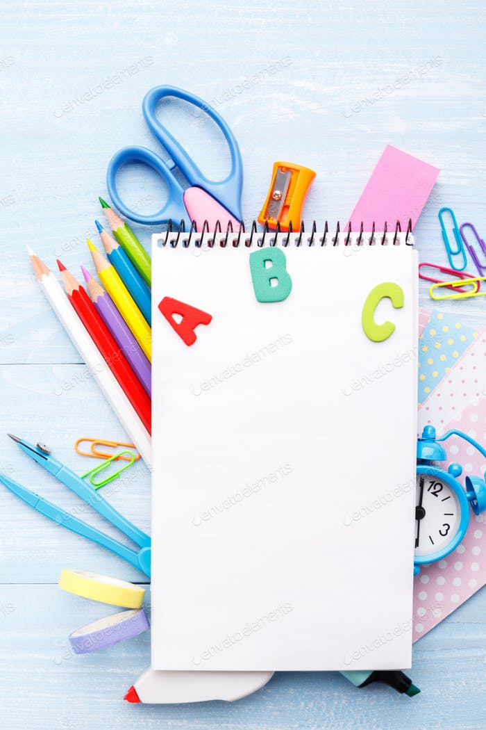 Stationery on blue table