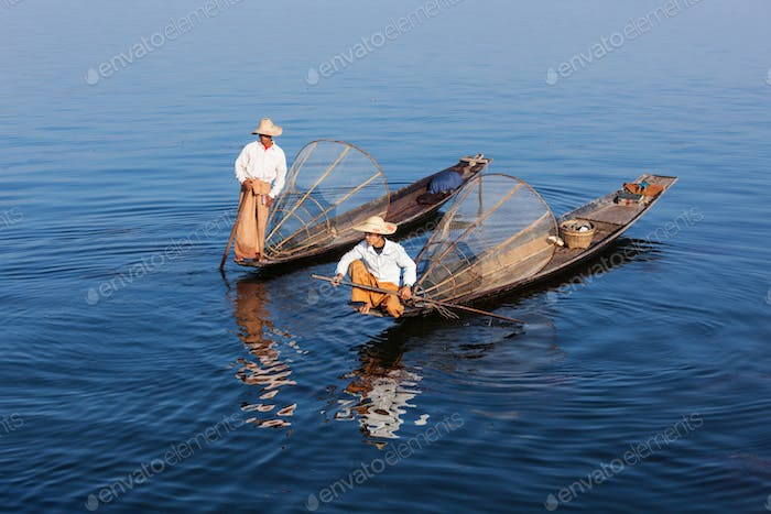 Traditional Burmese fishermen at lake, Myanmar