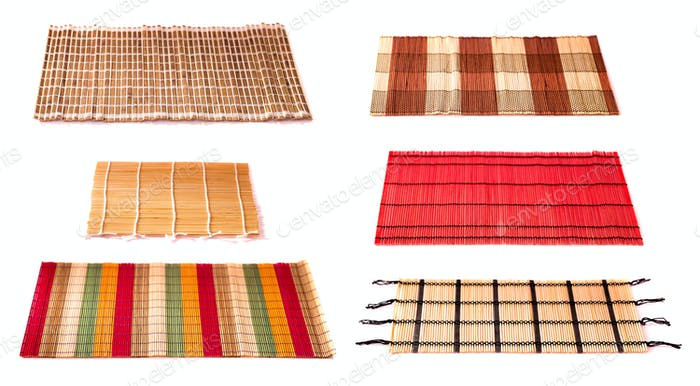 Bamboo scroll napkins isolated