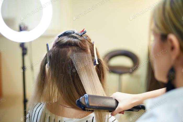 Women's long hair styling